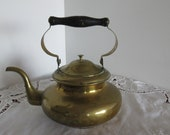 Brass Kettle with Wooden Handle, French Farmhouse Decor, French Farmhouse Decor