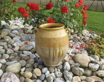 Wonderful Vintage Glazed Confit Pot, Antique, Old Pottery, French, Finished in the traditional Mustard Yellow Glaze, Terracotta