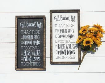 Fall Signs / Fall Sign / Fall Decor / Fall Bucket List / Fall Decorations / Wall Art / Wall Art Decor / Home Decor / Thanksgiving Decor
