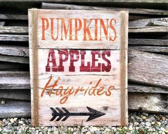 Fall Decorations / Harvest Decorations / Wall Decor / Fall Signs Outdoor / Pumpkins / Wall Art / Fall Decor / Apple Decor