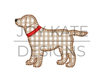Tan Gingham or Pink Personalized Applique Vintage Stitch Boy or Girl Lab Puppy DOG with Sketch FOOTBALL and Name Shirt or Bodysuit Blue