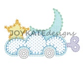 Cloud Toy Car 4x4 embroidery design, Applique, Cloud star moon embroidery, Vintage stitch, Moon embroidery file, Twinkle little star