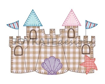 Sand Castle Blanket Stitch Applique Embroidery Design 82421429883d