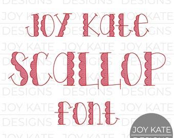 Sketch Fill Joy Kate Scallop Bean Stitch Embroidery Font