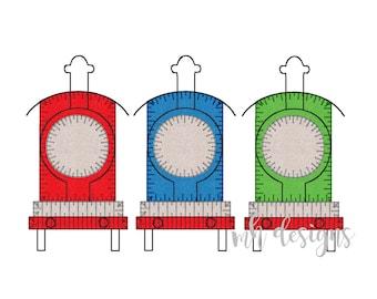 Minimalist Trains 5x7 Raggy Applique Embroidery Design, Train applique, Vintage stitch, Train embroidery file, Bean stitch, Blanket Stitch