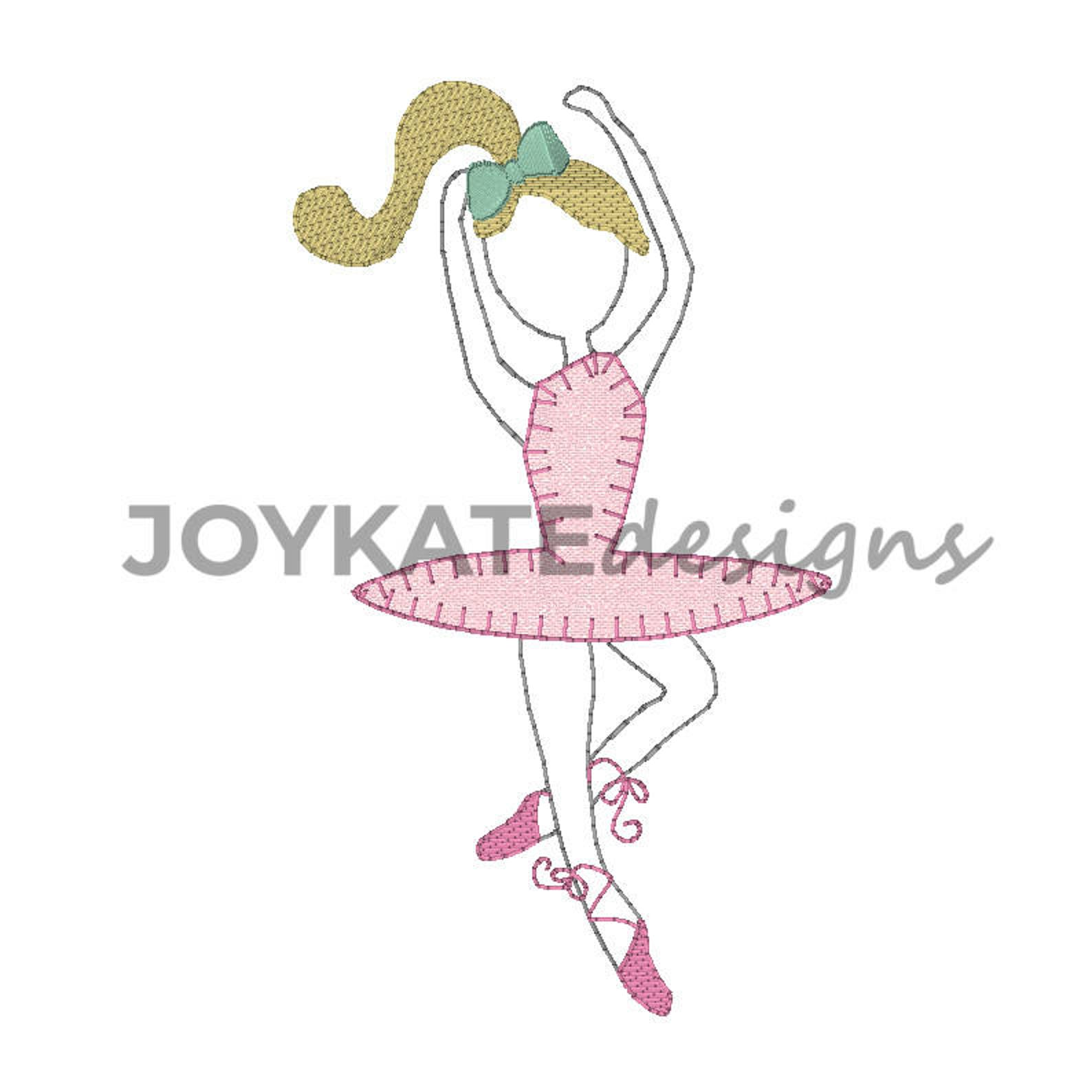 ballerina embroidery applique' design, 4x4 & 5x7, ballerina applique, vintage stitch embroidery, ballet embroidery file, bla