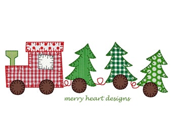 Christmas tree train applique' embroidery design, Train embroidery file, Vintage design, Vintage stitch embroidery design, applique
