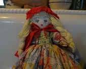 Vintage Little Red Riding Hood topsy turvy doll - large size - handmade