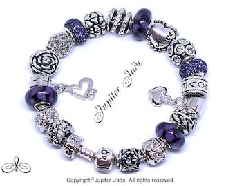 1e8d99e16 ... italy new authentic pandora 925 silver charm bracelet w european charms  love deep purple of hearts