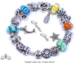 NEW Authentic 925 Pandora Silver Charm Bracelet w European Charms - Sand Surf Ocean Beach B162