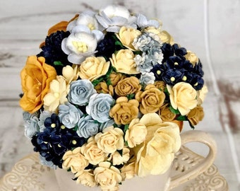 """Mulberry paper flowers, assorted pastel color mix """"Meda"""", 115 pieces"""