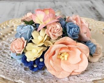 "Mulberry paper flowers, assorted pastel color mix ""Luna"", 115 pieces"