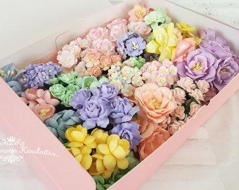 "Paper Flowers, Pastel Rainbow flower mix ""Melisa"". Assorted high quality handmade paper flowers."