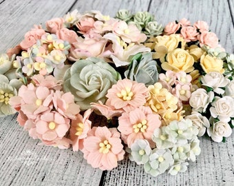 """Mulberry paper flowers, assorted pastel color mix """"Angelina"""", 140 pieces"""