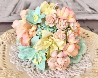 "Mulberry paper flowers, assorted pastel color mix ""Léja"", 66 pieces"