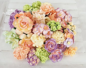 """Pastel flower mix """"MORTA"""". Assorted color coordinated handmade mulbery flowers."""