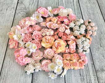 """Mulberry paper flowers, assorted pastel color mix """"Luka"""", 185 pieces"""