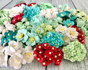 """Mulberry paper flowers, assorted pastel color mix """"Christine"""", 260 pieces"""