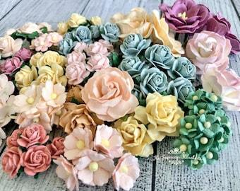 "Mulberry paper flowers, assorted pastel color mix ""April"", 120 pieces"