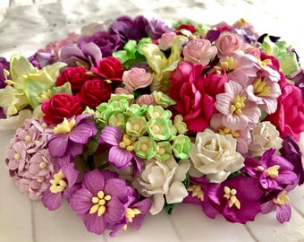 """Mulberry paper flowers, assorted pastel color mix """"Maggie"""", 170 pieces"""