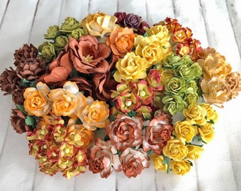 """Mulberry paper flowers, assorted pastel color mix """"Amber"""", 120 pieces"""