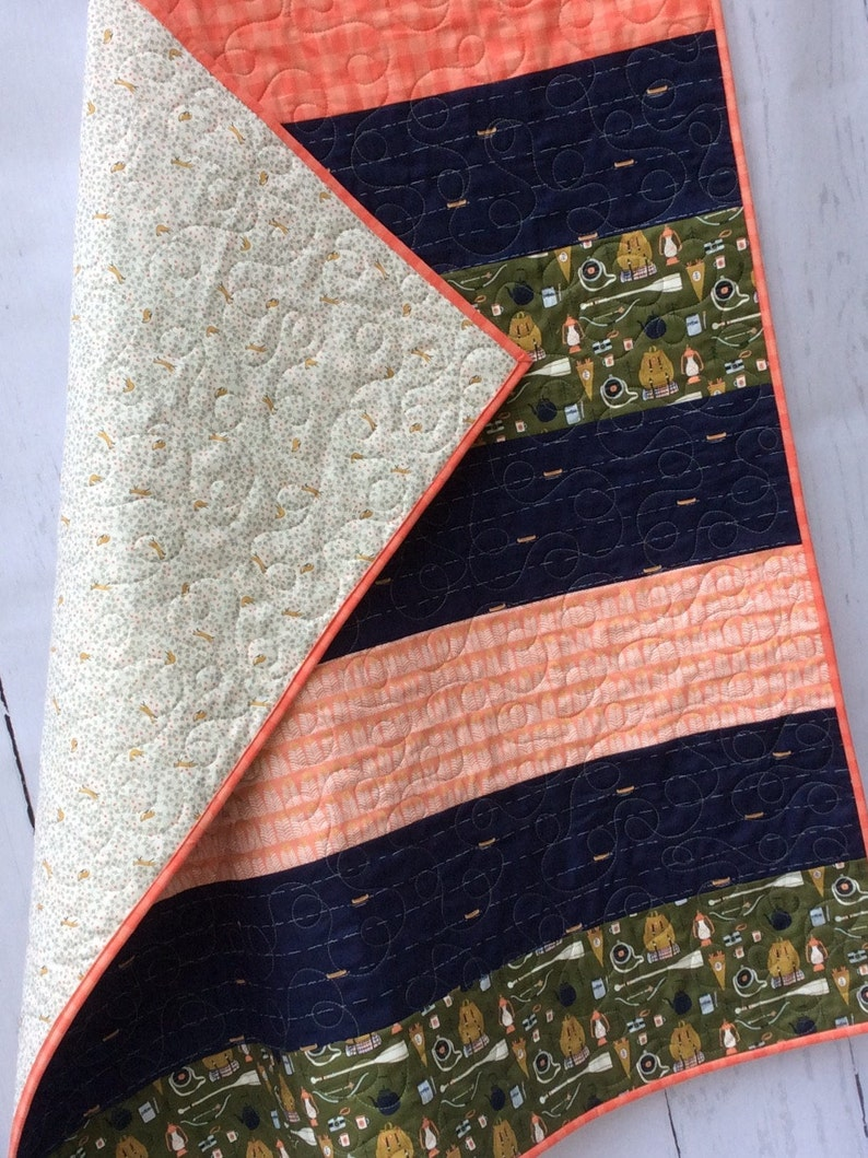 Baby Quilt Boy Girl Camping Woodland Navy Coral Nursery Blanket Green