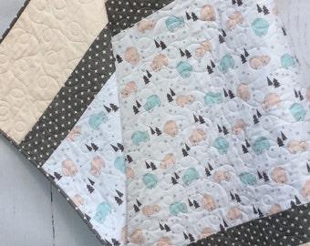 Baby Quilt, Bear Quilt, Girl, Slumbering Bears, Baby bedding,  Crib Cot, Modern Handmade Quilts, Pink Blue Grey White
