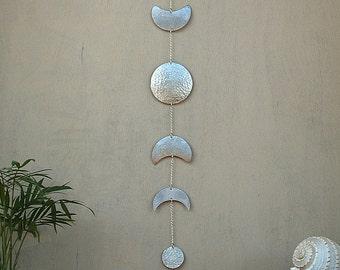 Moon Phases Wall Hanging Silver Full Moon Wall Decor Moon Wall Art - Moon Child - Lunar - Moon Mobile
