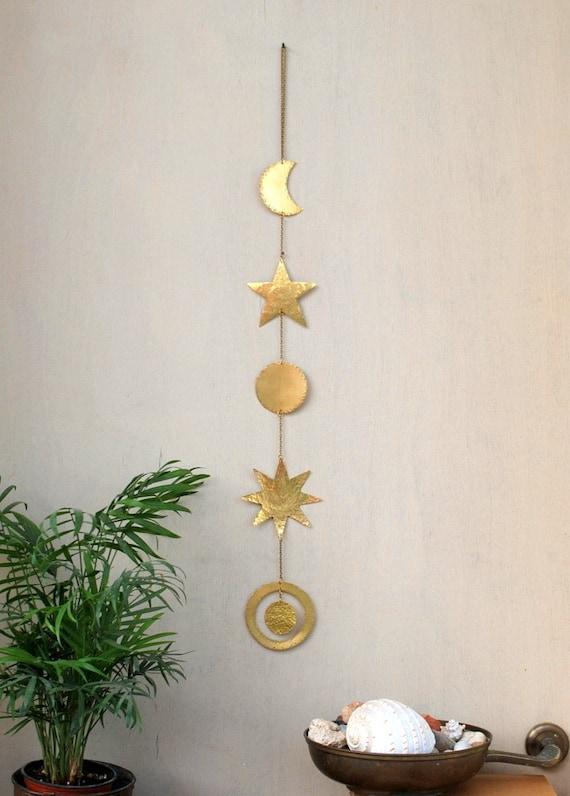 Brass Wall Hanging Celestial Wall decor Boho Mobile Sun | Etsy