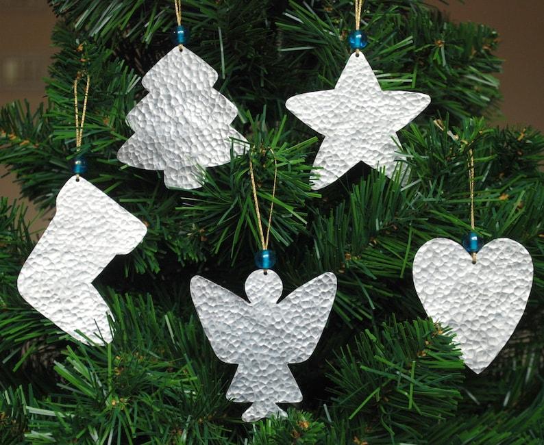 Silver Christmas Ornaments Metal Christmas Tree Decor 5 Handmade Cottage Chic Christmas Decorations Xmas Ornaments