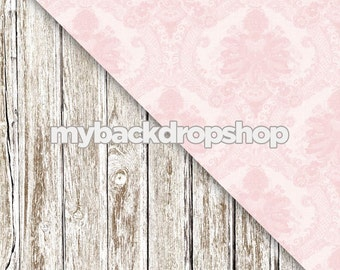 Pink Damask  Whitewashed Wood Floor Items 169 /& 1371 Combo Two 4ft x 4ft Vinyl or Poly Photography Backdrop and Floor Drop