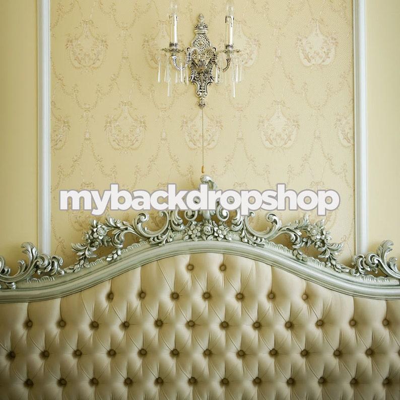 6ft x 6ft Vinyl Photography Backdrop Bedroom Photo Scene Background Fancy Tufted Bed Headboard Item 266