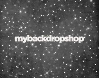8ft x 8ft Black Starry Night Sky Photography Backdrop - Gray Night Sky Photo Prop - Sky Photography Drop - Item 3112
