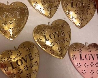 "6 METAL LOVE HEARTS 5"" hanging decorations ornaments cutout design"