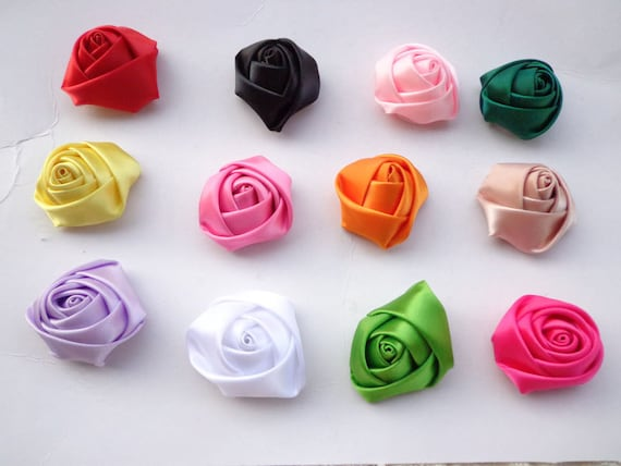 Sale100 Pcs Mixed Colors Lovely Rose Satin Flowers Etsy