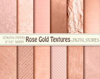 "Rose Gold Digital Paper: ""ROSE GOLD TEXTURES"" Golden Foil Shiny Metallic textures, Photography Backdrop, invites, cards, scrapbook"