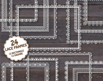 """24 Lace Frames Clipart: """"LACE FRAMES 1"""" Digital lace frames clipart square and rectangle  for invites, wedding, cards"""