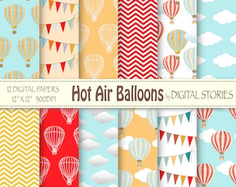 """Hot Air Balloons Digital Paper : """"HOT AIR BALLOONS"""" for scrapbooking, invites , cards"""
