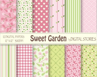 "Floral Digital Paper: ""SWEET GARDEN"" Pink Green Floral Stripes Digital Scrapbook Paper Pack for cards, invites, crafts"