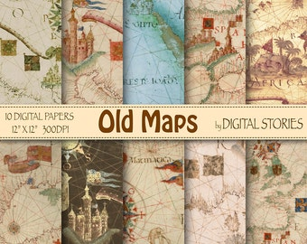 "Vintage maps digital paper: "" OLD MAPS"" with world antique maps for scrapbooking, invites, cards, background"