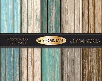 "Wood digital paper: ""WOOD DIGITAL PAPER"" distressed rustic wood in teal, brown, for scrapbooking, backdrops, invites"