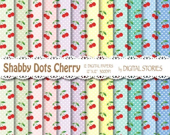 "Shabby Chic Digital Paper:"" SHABBY DOTS CHERRY"" Shabby chic background with cherries for scrapbooking, invites, cards"