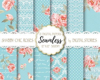 """Shabby Chic Digital Paper """"SHABBY LACE TURCUOISE"""" Floral Seamless, Tileable Background with watercolor roses  for scrapbooking, invitations"""