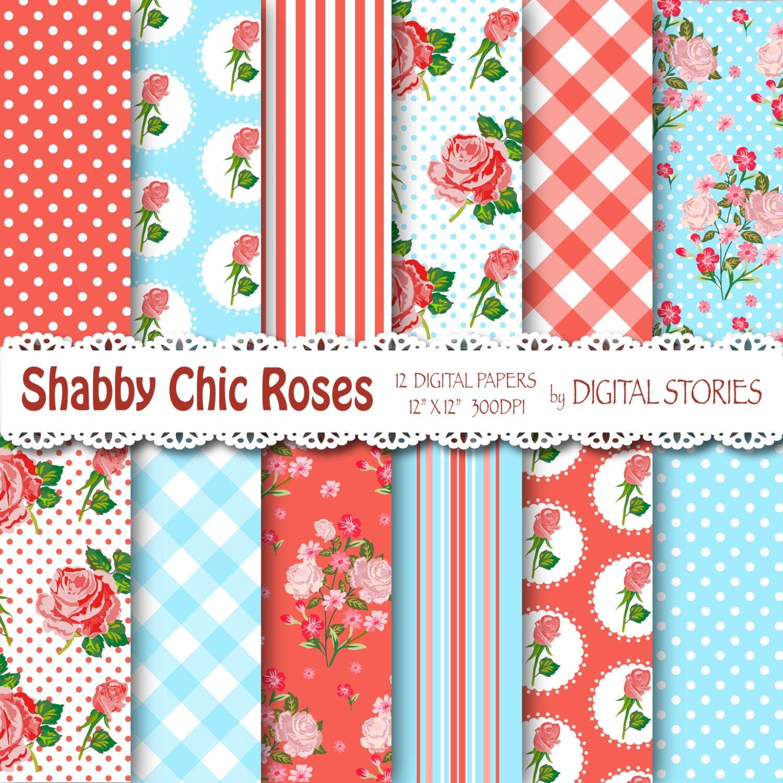 Shabby Chic Digital Paper Red Blue Floral Etsy Vintage Story Flower Rose 3 50