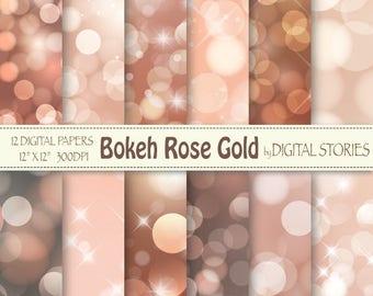 "Bokeh Digital Paper: ""BOKEH ROSE GOLD"" Scrapbook papers, Christmas rose gold bokeh overlays for invitation, photography backdrops, cards"