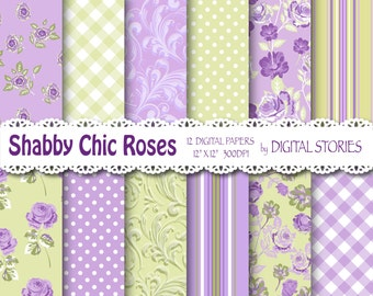 """Shabby Chic Digital Paper: """"LILAC GREEN BRIGHT"""" Floral background with roses for scrapbooking, invites, cards"""