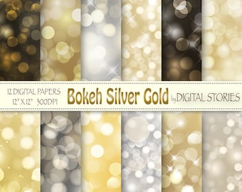 """Bokeh Digital Paper: """"BOKEH GOLD SILVER"""" Scrapbook papers, gold silver bokeh overlays for invites, photograph backgrounds"""