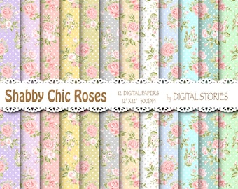 "Shabby Chic Digital Paper: ""SHABBY CHIC MORNING"" Floral pastels digital papers for scrapbooking, invites, cards"