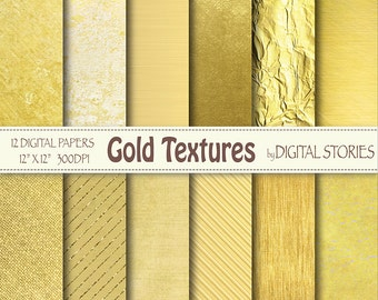 "Gold Digital Paper: ""GOLD TEXTURES"" Golden Foil Shiny Metallic textures, Photography Backdrop, invites, cards, scrapbook"