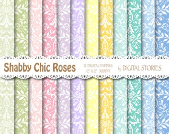 """Shabby Chic Digital Paper: """"SHABBY CHIC DAMASK"""" Colorful Damask background  for scrapbooking, invites, cards"""
